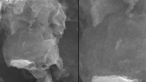 Imagem de microscopia eletrônica de varredura do nanocompósito criado (na primeira foto, em 200 nm; na segunda, em 100 nm). Foto: PPQG/Arquivo
