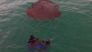 Mancha de óleo no mar de Tamandaré (PE). Abaixo, na foto, equipe do governo federal iniciando recolhimento. Foto: MMA/Divulgação, 20/10/2019