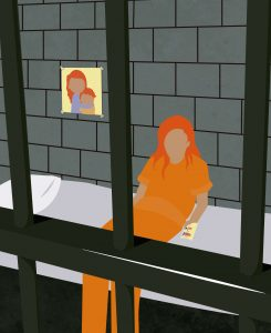 Na Penitenciária Feminina do Paraná, localizada em Piraquara, na Região Metropolitana de Curitiba, das 309 presas em maio deste ano, 127 são mães — 94 delas têm filhos menores de 12 anos. Ilustração: Roberto Lagarto/Sucom-UFPR