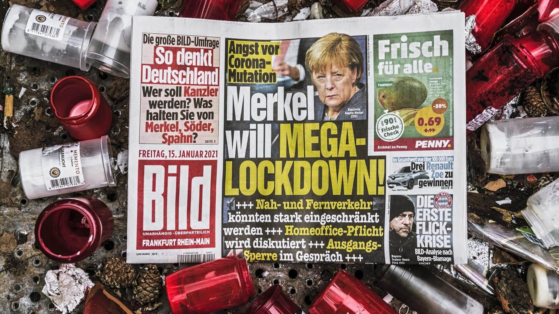 """Com o início da """"segunda onda"""" de covid-19, verificada nos gráficos ModInterv no fim de outubro, a Alemanha adotou lockadown em novembro, que persiste até hoje. Foto: Mega Merkel/Flickr, 2020"""